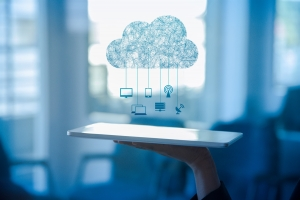Cloud computing - holding tablet